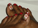 Red Floral Toes