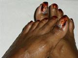 Orange Blue Floral Toes