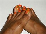Orange Floral Toes