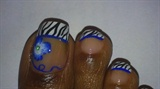Zebra French Blue Floral Toes