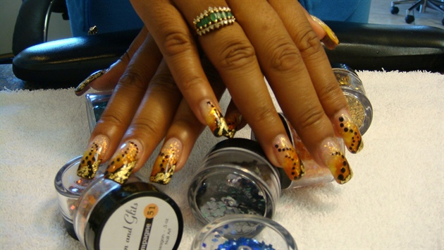 Orange & Yellow Acrylic With Gold Foils