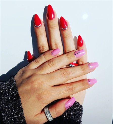Red And Pink Nails Diffe But Cool D