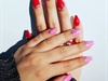 Red and pink nails different but cool :D