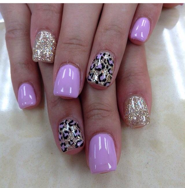 Pink Gold With Cheetah Print Nail Art Gallery