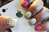 Black dots on white and pink