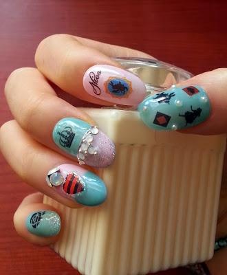 Alice in Wonderland theme Gel nail art by alicenailart from Nail Art Gallery