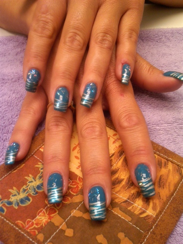 Teal silver zebra french