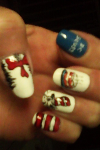 Dr. Seuss day nails 2020