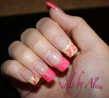 pink & green w/art