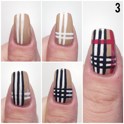 Create the Burberry design on your thumb.
