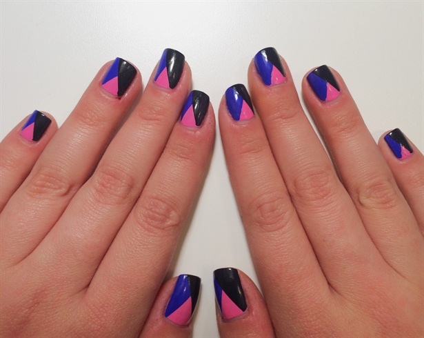 When you're done, apply a top coat.\n\nCheck out my website for more details :)\nhttps://newweeknewmanicure.wordpress.com/2015/04/11/5-pink-blue-geometrical-nail-art/