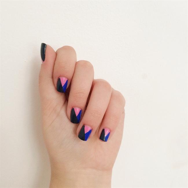 PINK & BLUE GEOMETRIC nail art - Nail Art Gallery Step-by-Step ...