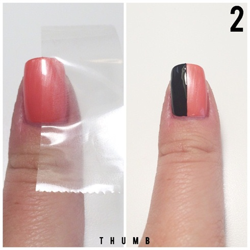 Use Scotch tape to paint only half of your thumb in black.