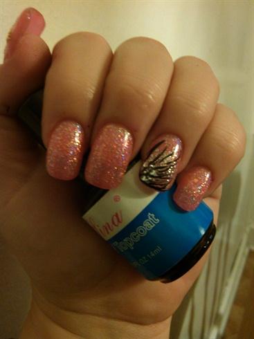 Pink nails with nail art