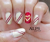 Red and Golden Nails by alpsnailart