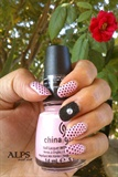 Polka Dots & caviar nail by Alpsnailart
