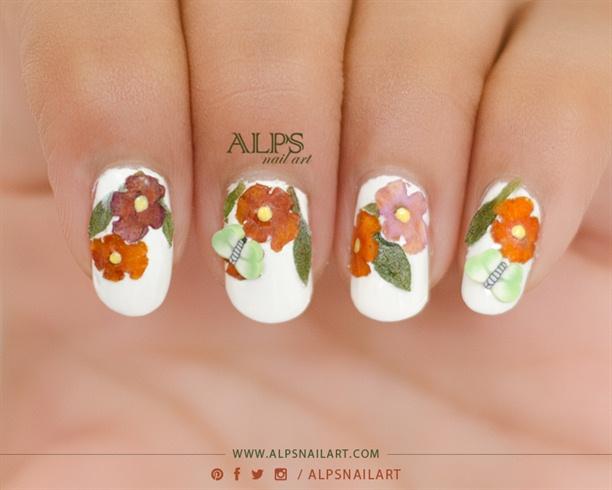 Dry flower nails tutorial @alpsnailart