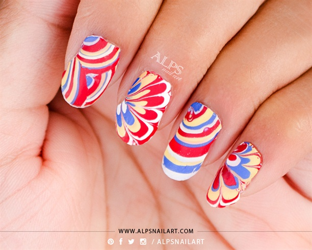 No Mess Easy Water Marble Alpsnailart Nail Art Gallery Step By
