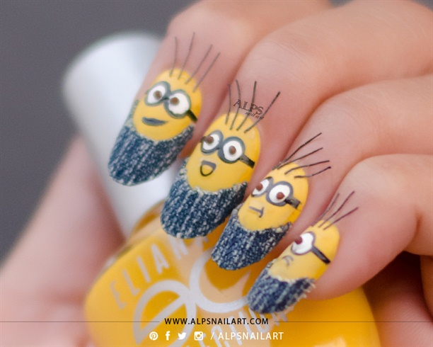 3D Minion Nails Tutorial @alpsnailart