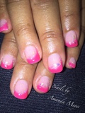 Gel nails with pink tips and Mylar