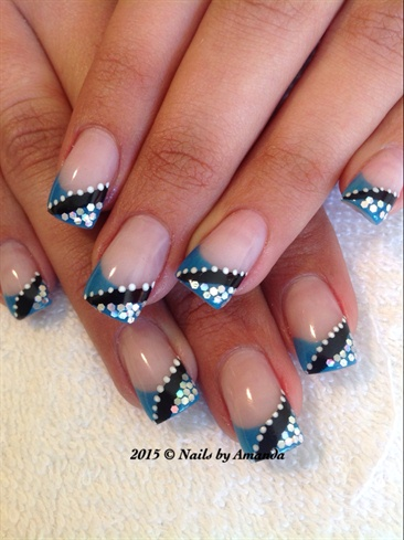 blue french  nail art gallery