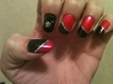 hot pink & black diagonal french