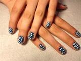 Blue polka dot nails