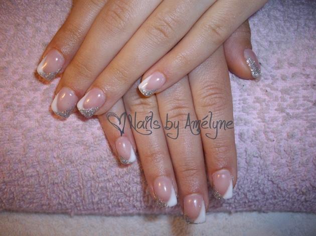 V french white and silver glitter nail art gallery v french white and silver glitter prinsesfo Choice Image