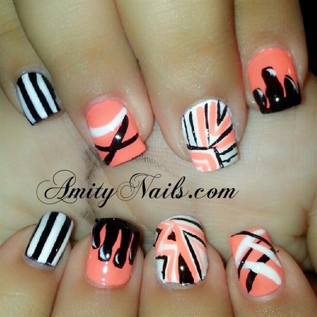 peach nails - Nail Art Gallery