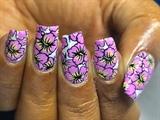 Multi Color Hibiscus DIY Nail Design