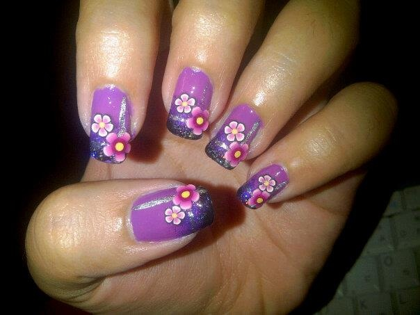 Purplish Floral fimo stick nails...