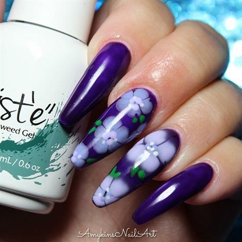 Purple Floral Nails
