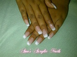 Coverpink and white Acrylic nails
