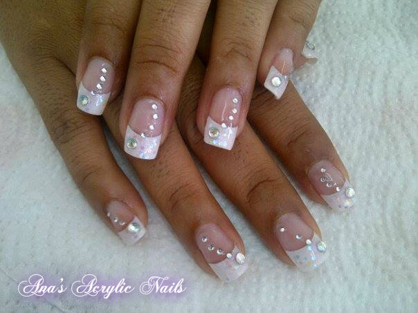 White tips with glitters and stones