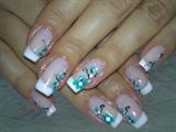 Turquaz flowers french nails