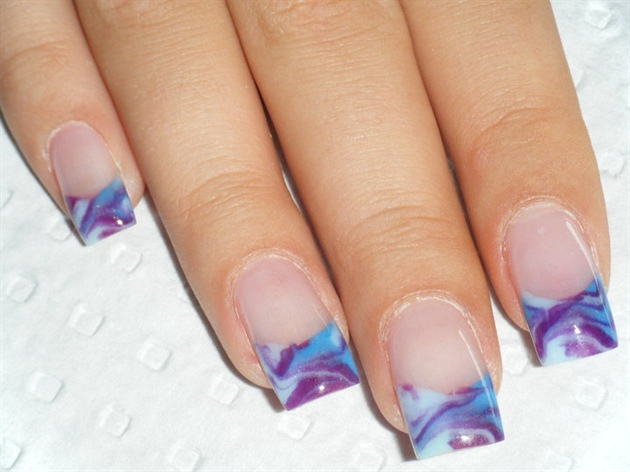 colour acrylic french marbling