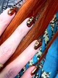 acrylic with nail polish marbling