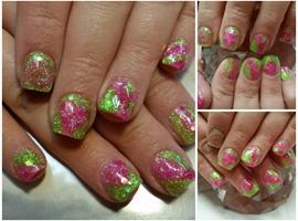 Bright green n pink