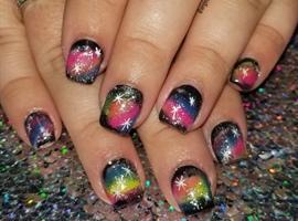 nail art: Rainbow Galaxy