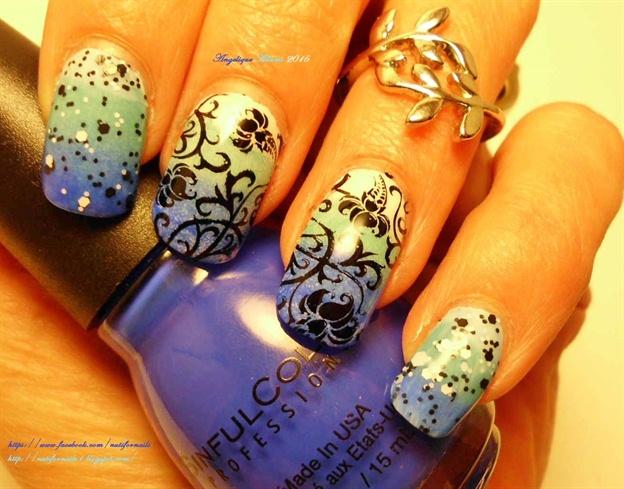 Blue Ombre Floral