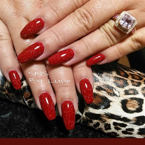red sns nails   nail art gallery