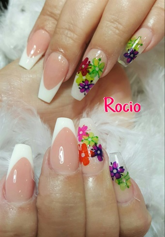 Pink & White Acrylic With Nail Art
