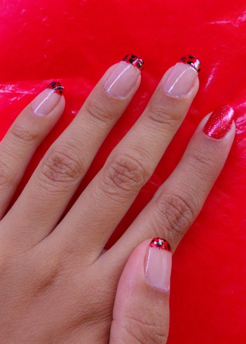 Red and Black French Tip
