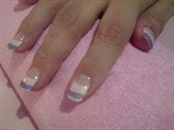Purple glitters nails tips