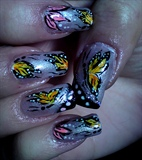 Butterfly nail art design,