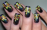 neon nail art flower
