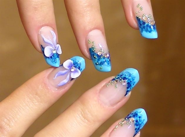 3d Bow Nail Art Blue Nail Art Design Nail Art Gallery