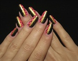 Pink Black Gold lace nail art