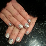 silver glitter & swarovski crystals