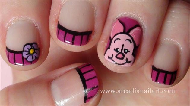 Piglet Nail Art on Short Nails